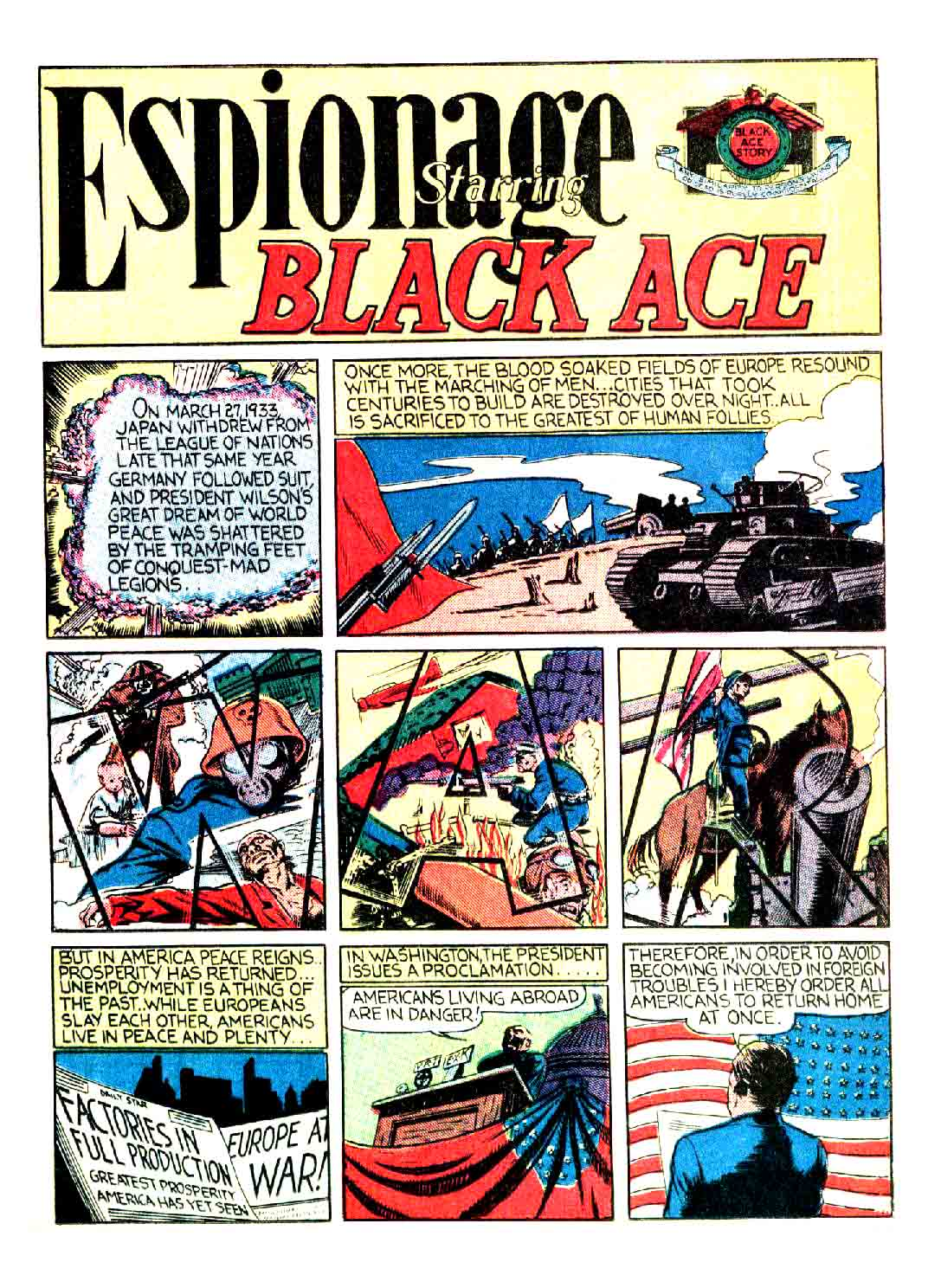 Espionnage Staring black Ace from Smash Comics #3