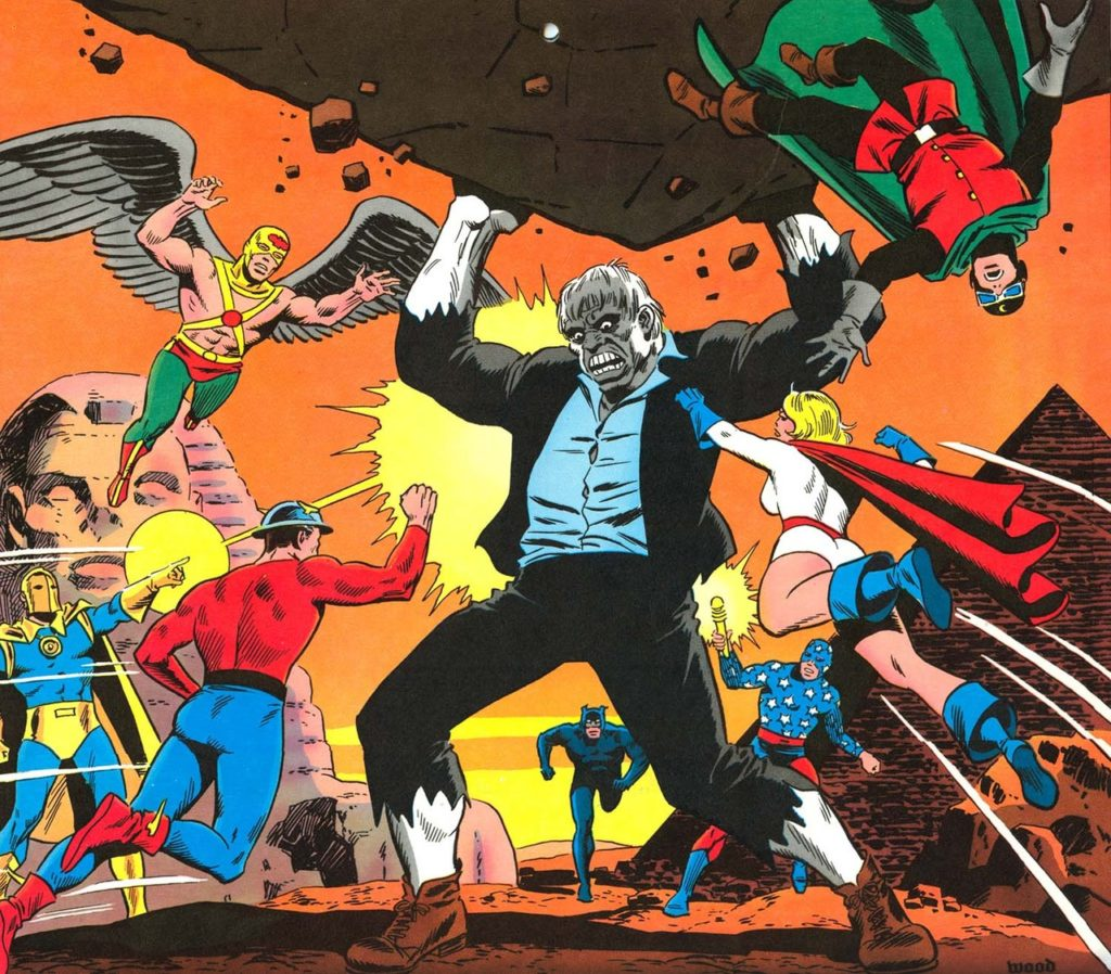 Fantastic Wally Wood art for August 1977 from the DC Super Calendar