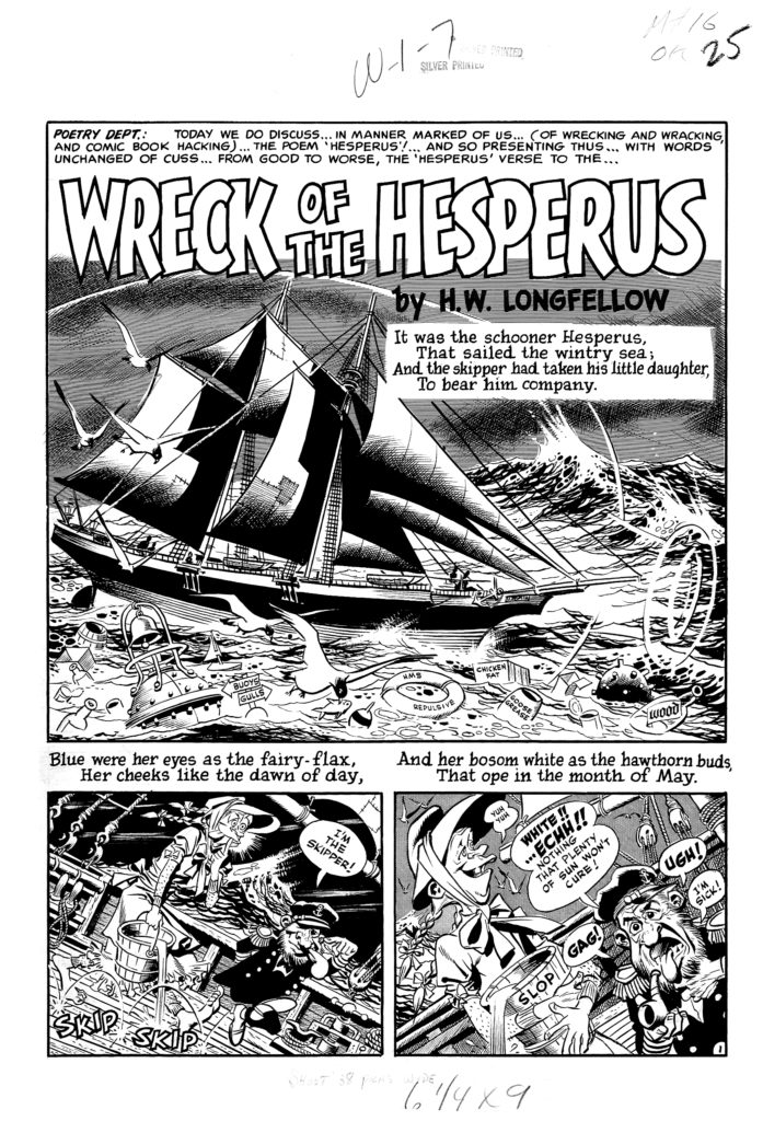 Mad 16 Complete 7 page 01 Story Wreck of The Hesperus Original Art EC 1954.1